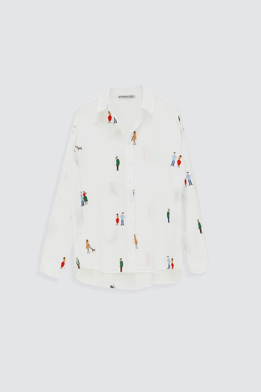 Renkli Figür Desenli Beyaz Kadın Gömlek
