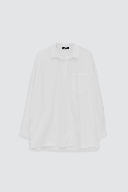 Oversize Kol Manşet Detaylı Tek Cepli Beyaz Kadın Gömlek