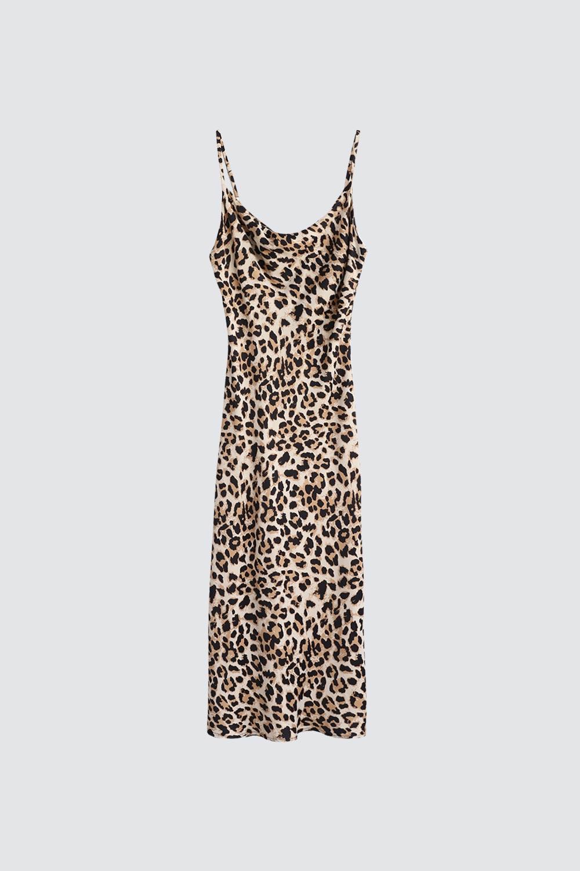 İnce Askılı Kayık Yaka Leopar Kadın Elbise