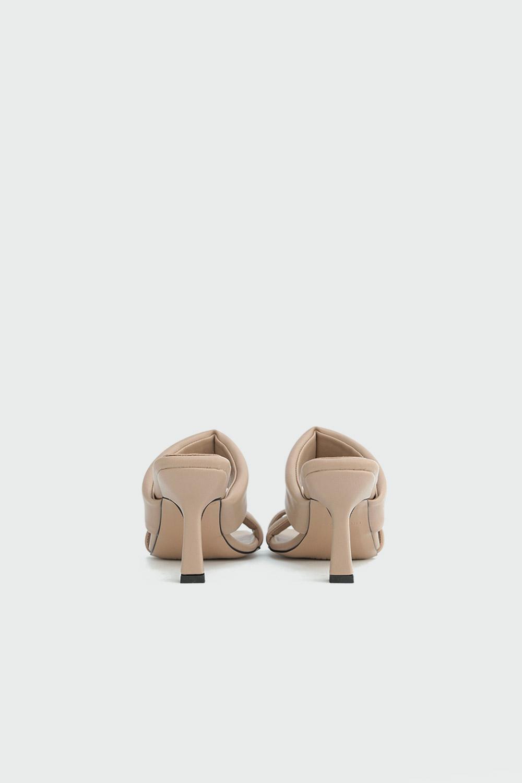 İvy Kalın Bantlı Tek Parmak Detaylı Nude Kadın Topuklu