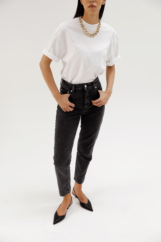 Yüksek Bel Füme Mom Jean Siyah Kadın Denim / Pantolon