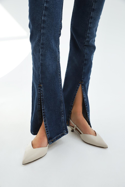 Önü Yırtmaçlı İspanyol Paça Jean Koyu Mavi Kadın Denim / Pantolon