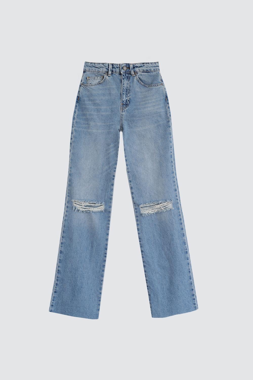Yırtık Düz Paça Straight Açık Mavi Kadın Denim / Pantolon
