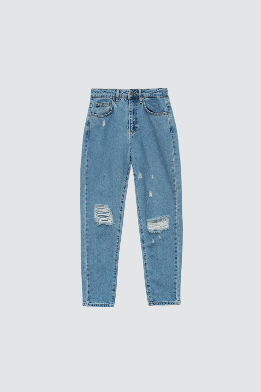Yüksek Bel Yırtık Detaylı Mom Mavi Kadın Denim / Pantolon