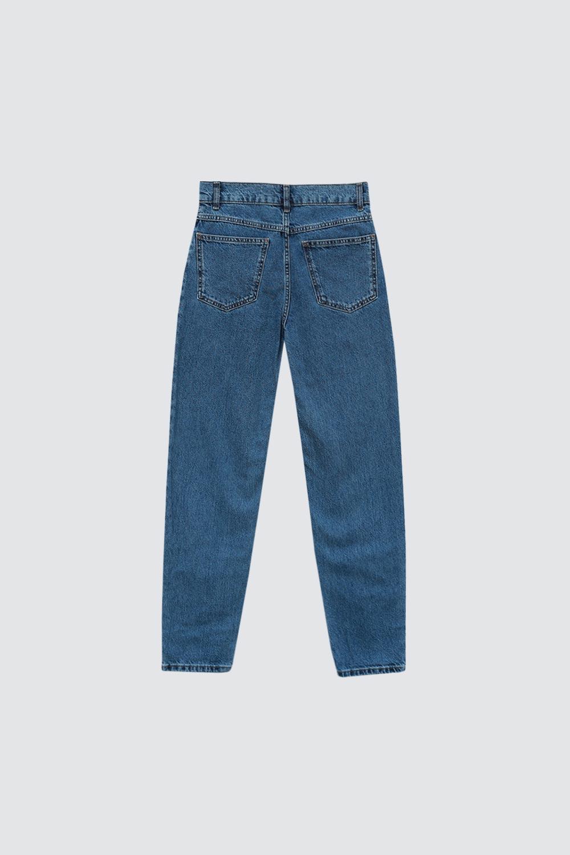 Yüksek Bel Mom Koyu Mavi Kadın Denim / Pantolon