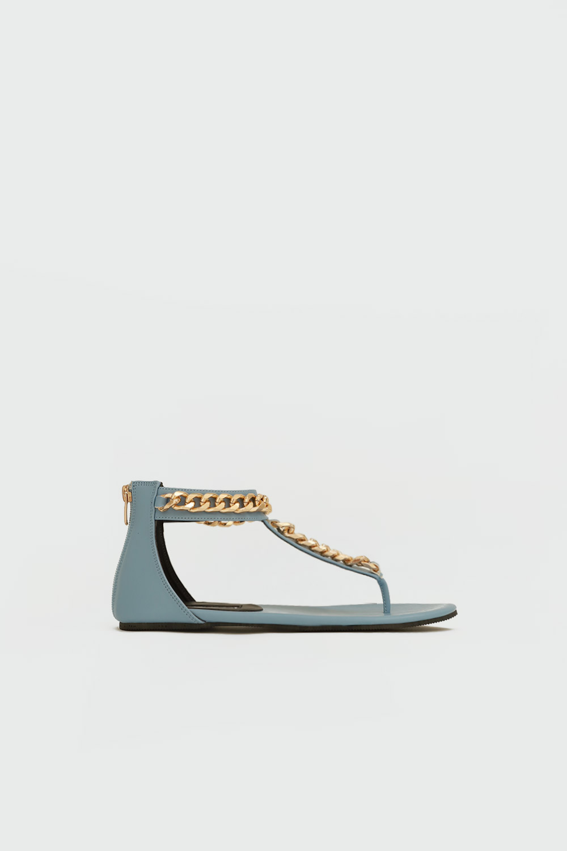 Judith Parmak Arası Gold Zincir Detaylı Mavi Kadın Sandalet