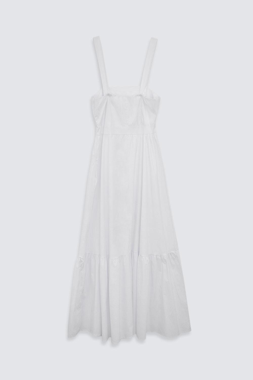 Kalın Askılı Uzun Beyaz Kadın Elbise
