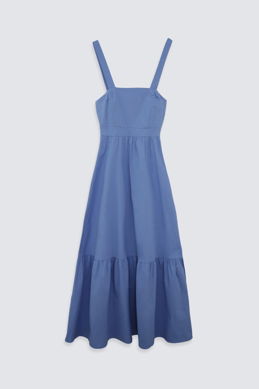 Kalın Askılı Uzun Mavi Kadın Elbise