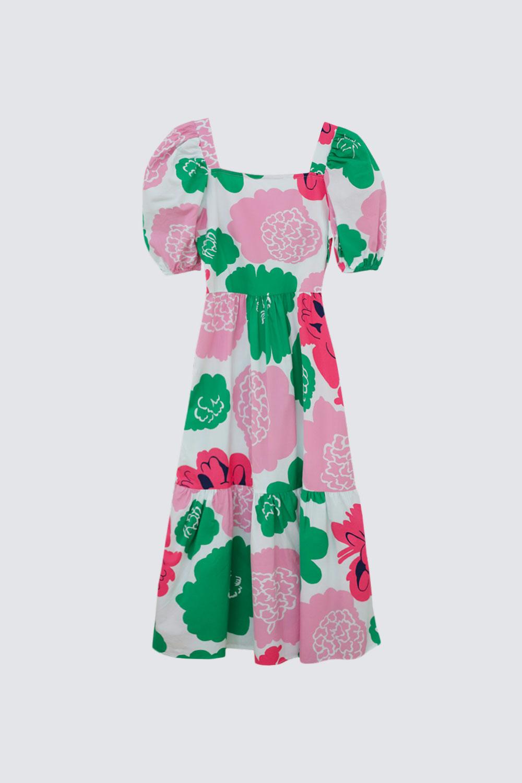 KARE YAKA KARPUZ KOL ÇİÇEK DETAYLI MAXİ Renkli Kadın Elbise