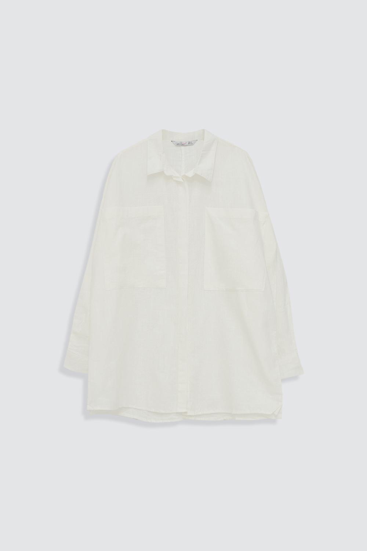 Keten Cep Detaylı Oversize Kırık Beyaz Kadın Gömlek