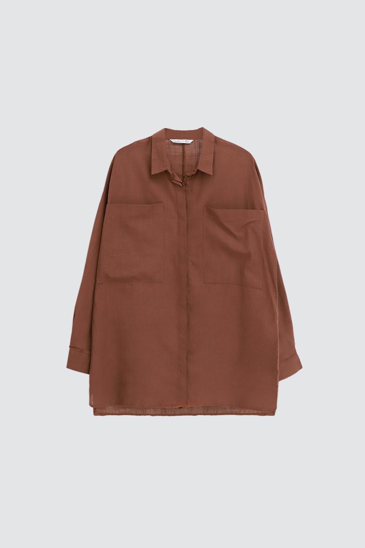 Keten Cep Detaylı Oversize Taba Kadın Gömlek