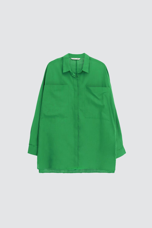 Keten Cep Detaylı Oversize Yeşil Kadın Gömlek