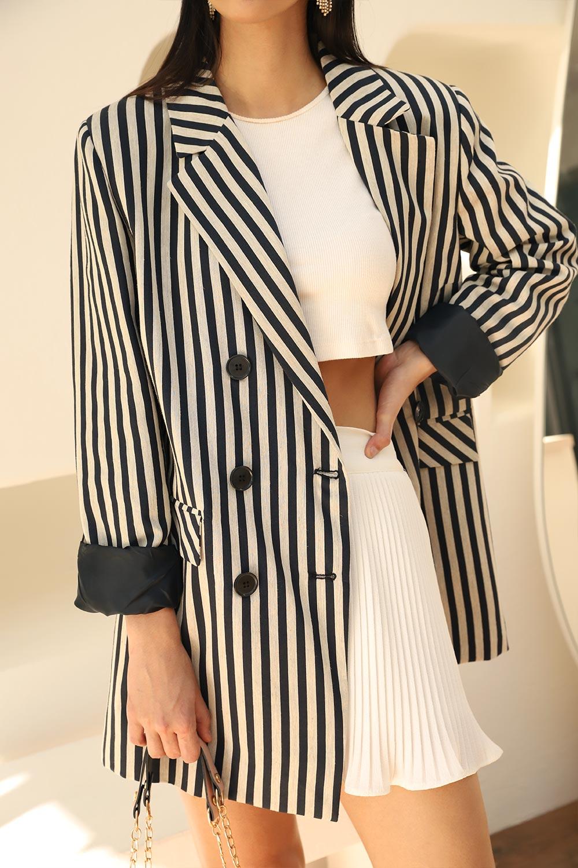 Keten Dokulu Kalın Çizgili  Blazer Lacivert Kadın Ceket