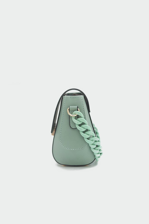 Kisa Zincir Detaylı Çapraz Mint Yeşil Kadın Çanta
