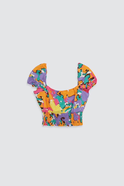 Kolu Lastikli Renkli Kadın Crop Top