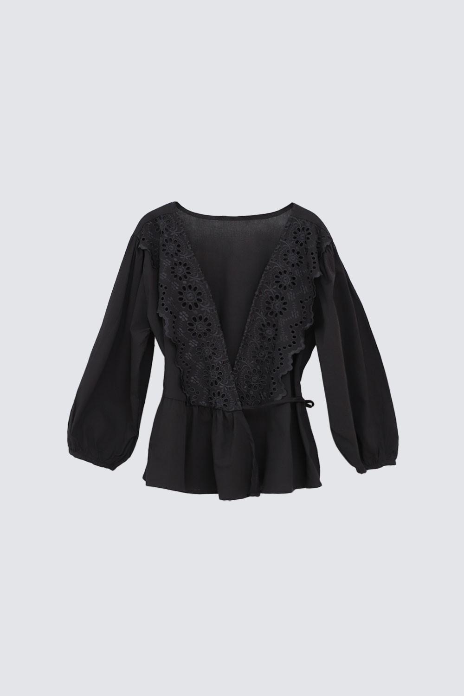 Kruvaze Yaka Lazer Güpürlü Siyah Kadın Gömlek