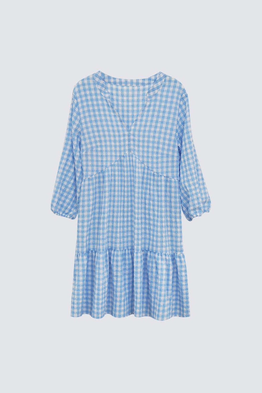 Lastik Kol Dökümlü Pötikare Mavi Kadın Elbise