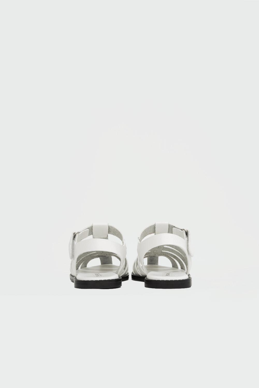 Leticia Taş Detaylı Pencereli Beyaz Kadın Sandalet