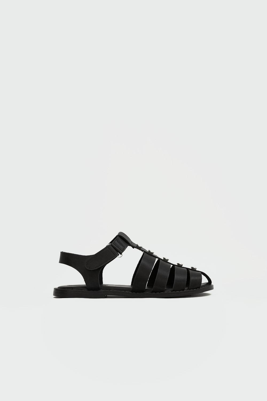 Leticia Taş Detaylı Pencereli Siyah Kadın Sandalet