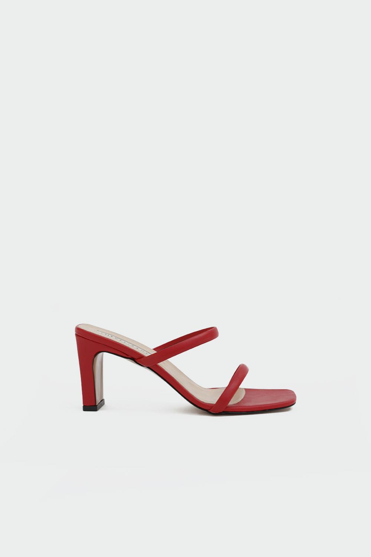 Likya İnce Bantlı Kırmızı Kadın Topuklu