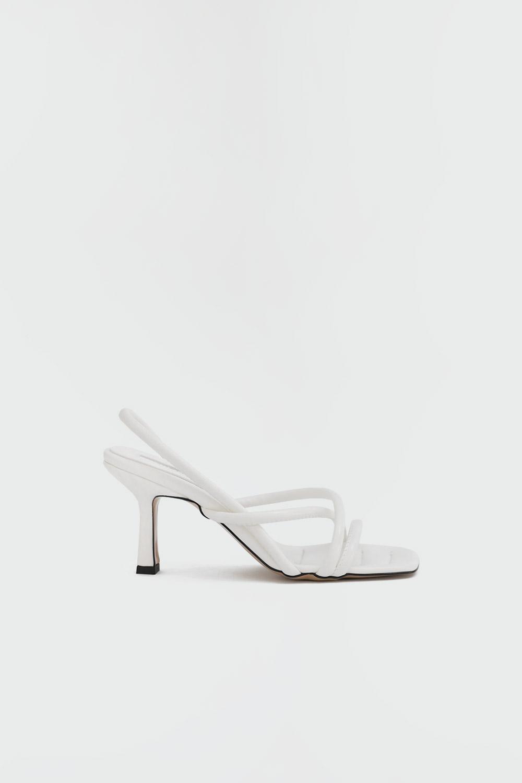 Merida Çapraz İnce Bantlı Beyaz Kadın Topuklu