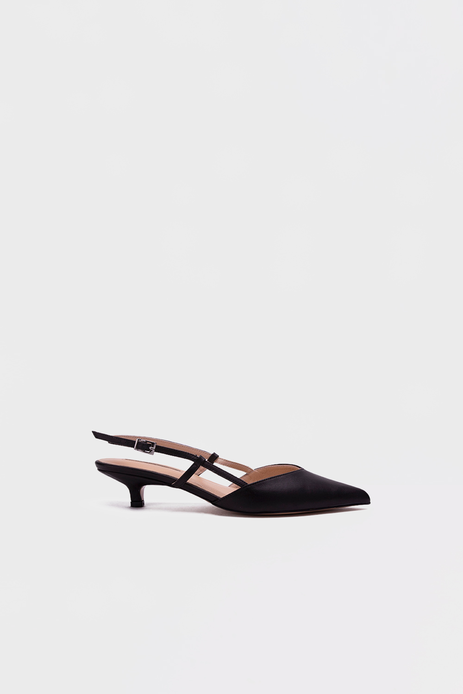 Mille Mini Topuklu İnce Bantlı Siyah Kadın Topuklu