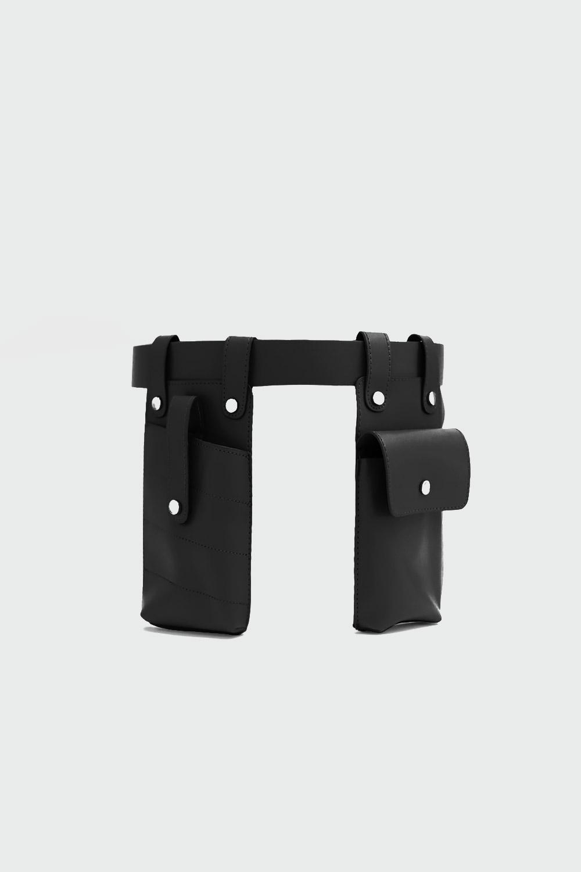 Mini Çantalı Siyah Kadın Kemer