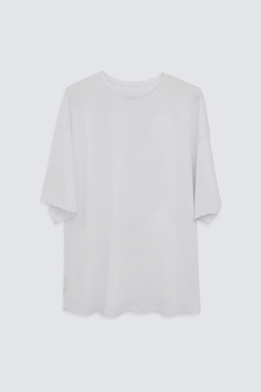 OVERSIZE Beyaz Kadın Basic Tişört