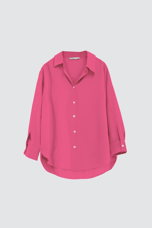 Oversize Düğme Detaylı Asimetrik Kesim Pembe Kadın Gömlek