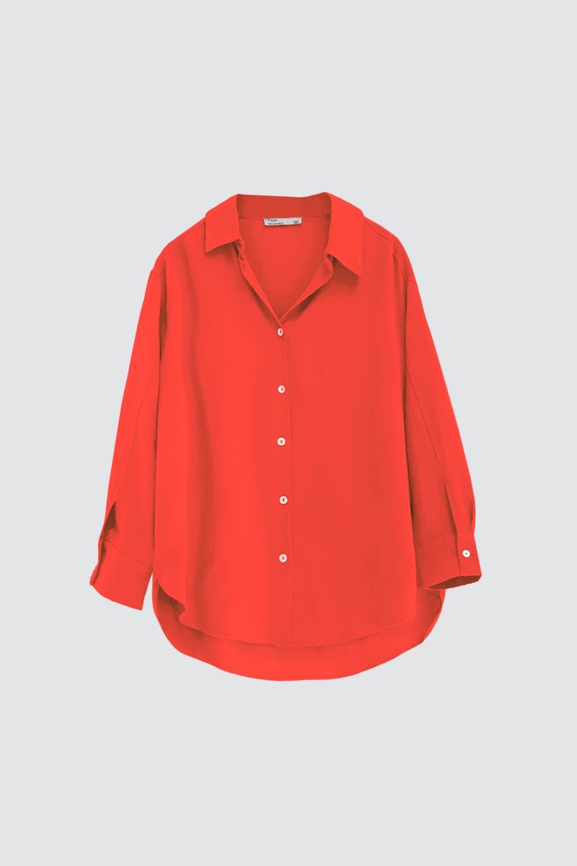 Oversize Düğme Detaylı Asimetrik Kesim Turuncu Kadın Gömlek