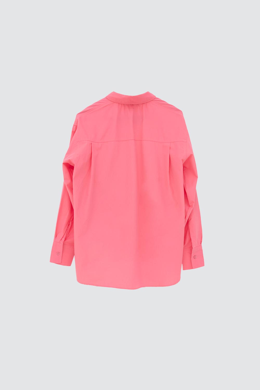 Oversize Asimetrik Kesim Pembe Kadın Gömlek