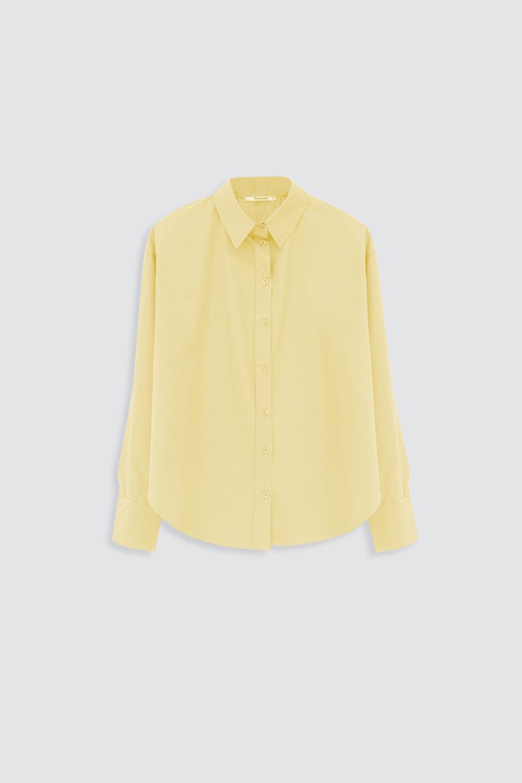 Oversize Asimetrik Kesim Sarı Kadın Gömlek