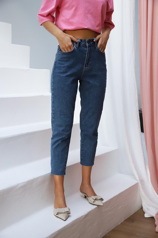 Paçası Lazer Kesim Yüksek Bel Jean Mavi Kadın Denim / Pantolon
