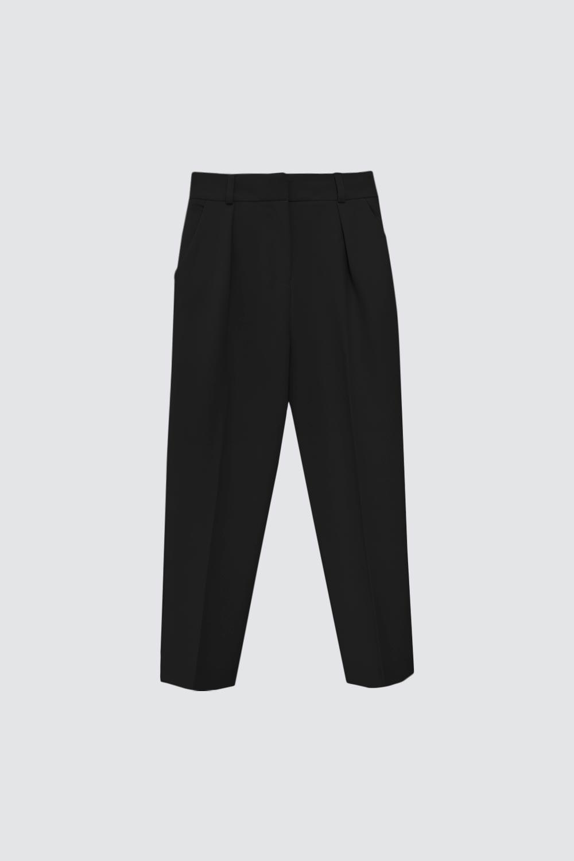 Pileli Düz Kesim Siyah Kadın Denim / Pantolon