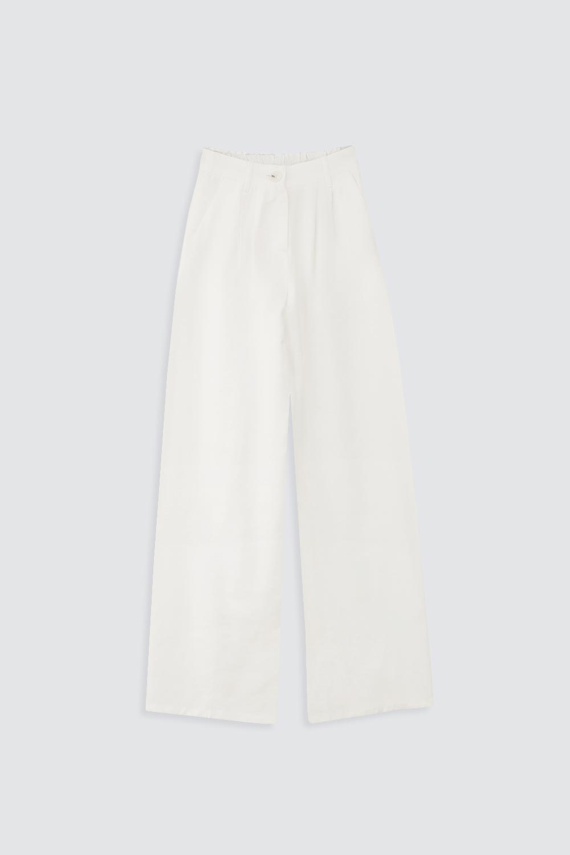 Düz Paça Düğmeli Beyaz Kadın Denim / Pantolon