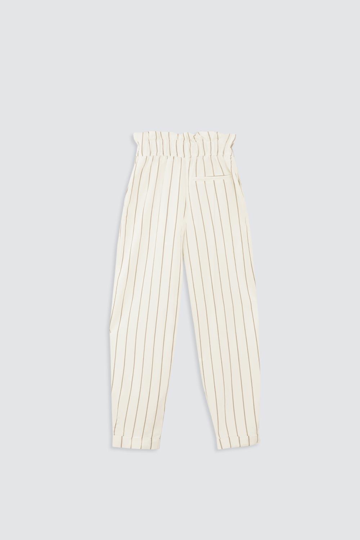 Çizgili Beli Fırfırlı Kemerli Beyaz Kadın Denim / Pantolon