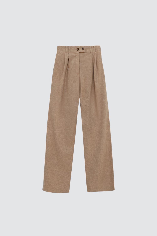 Çift Düğmeli Geniş Paça Nude Kadın Denim / Pantolon