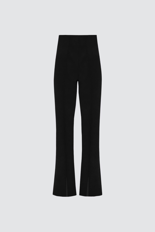 İspanyol Paça Yırtmaçlı Siyah Kadın Denim / Pantolon