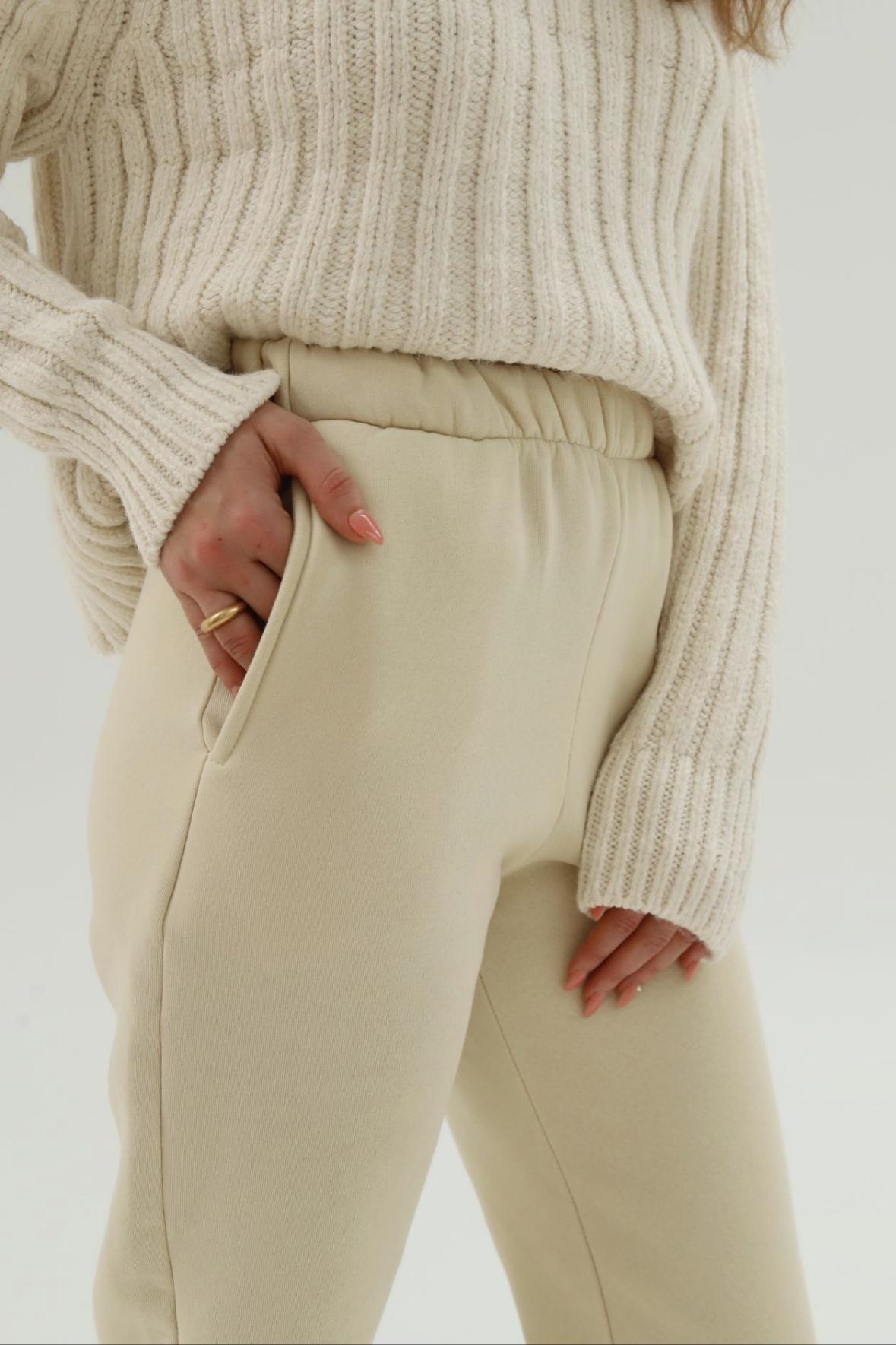 Beli Lastikli Jogger Pantolon Bej Kadın Denim / Pantolon