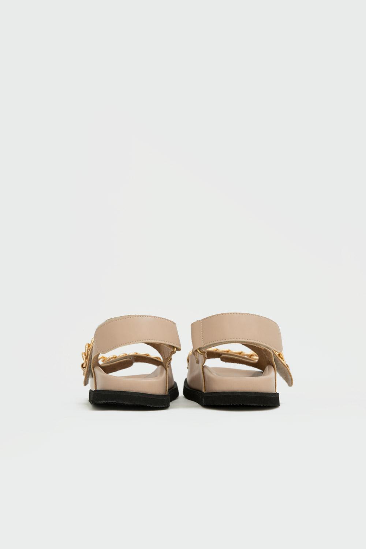 Parlie Zincir Detaylı Çift Cırt Bantlı Nude Kadın Sandalet