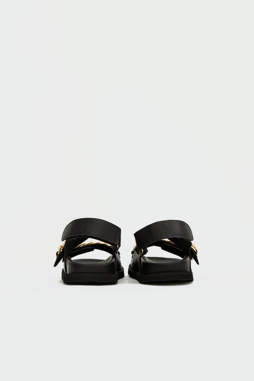 Parlie Zincir Detaylı Çift Cırt Bantlı Siyah Kadın Sandalet