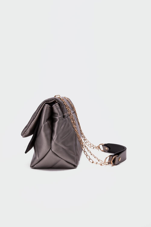 Petra Kapitone Önden Kapaklı Gri Kadın Çanta