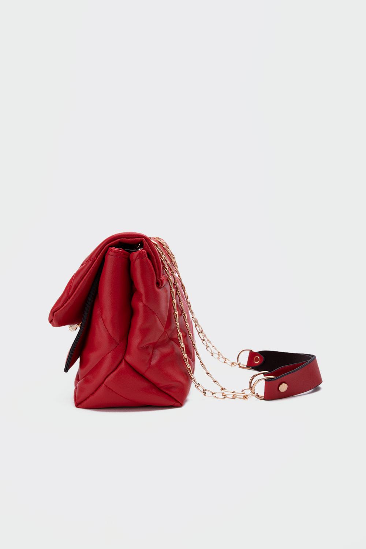 Petra Kapitone Önden Kapaklı Kırmızı Kadın Çanta