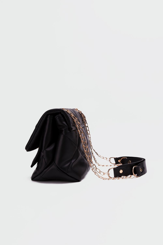 Petra Kapitone Önden Kapaklı Siyah Kadın Çanta