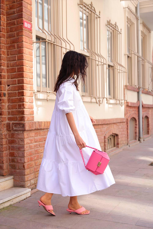 POPLİN KUMAŞ GÖMLEK Beyaz Kadın Elbise