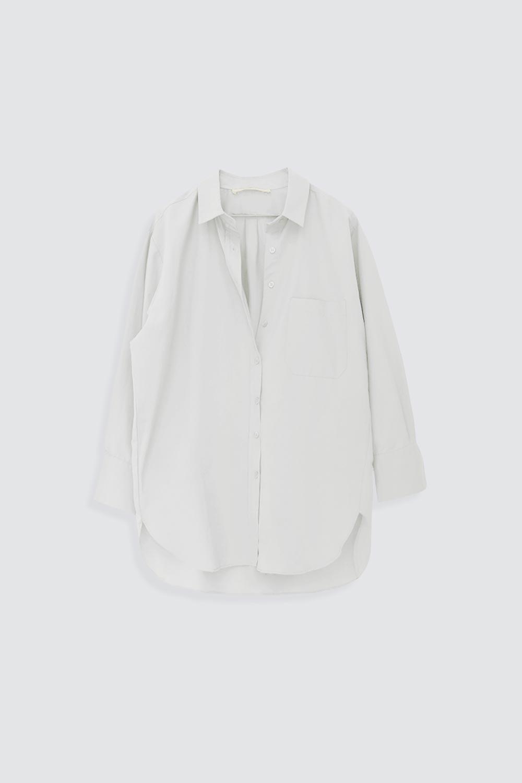 Poplin Tek Cepli Beyaz Kadın Gömlek