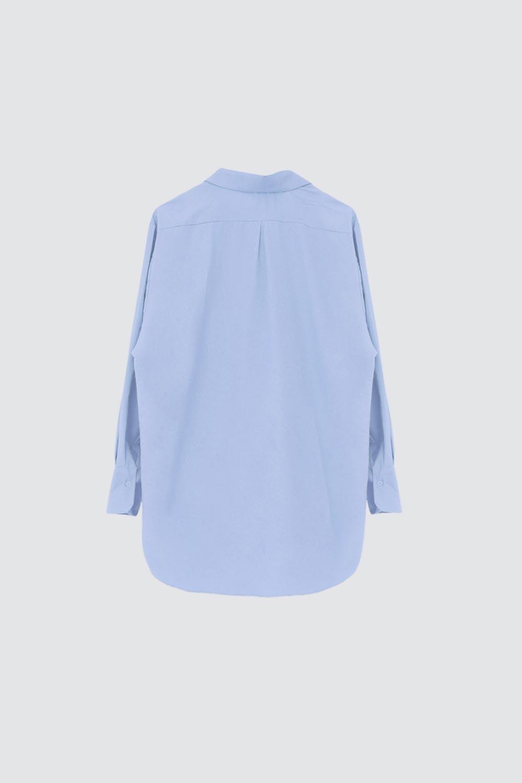 Poplin Tek Cepli Mavi Kadın Gömlek