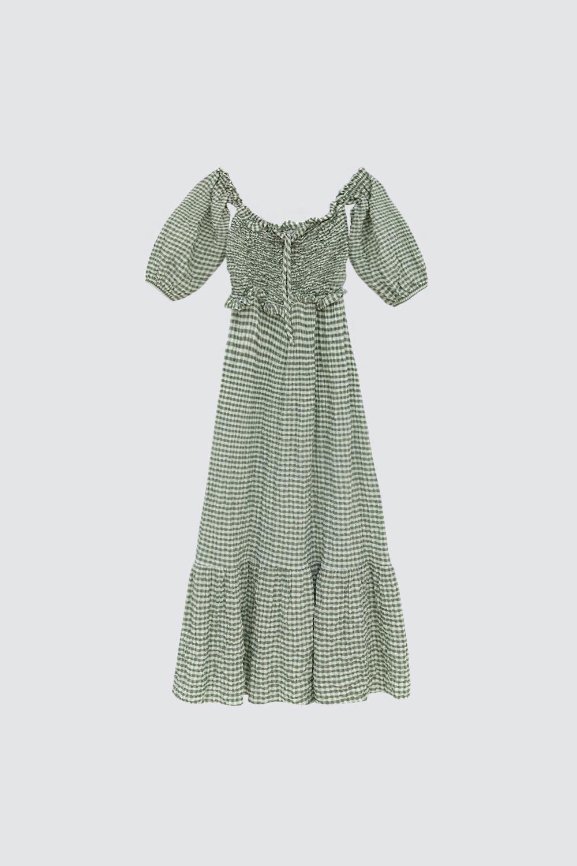 Pötikare Düşük Omuz Yeşil Kadın Elbise