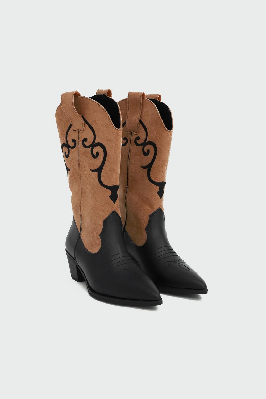 Quentin İşlemeli Süet Kovboy Siyah-Camel Kadın Çizme