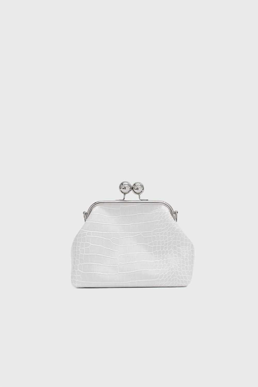 Ribbon Croc Desenli Baget Kırık Beyaz Kadın Çanta